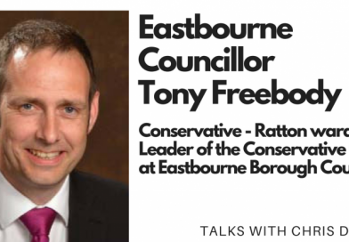 Chris Dabbs talks with Eastbourne Borough Councillor Tony Freebody (2018)